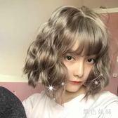 假髮女lolita短髮bobo蛋卷圓臉鎖骨網紅可愛泡面玉米燙頭套 qf9653【黑色妹妹】