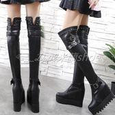 膝上靴 過膝長靴 過膝馬丁靴 長筒馬丁靴 超高跟內增高過膝長靴子馬丁靴時尚鉚釘皮帶扣騎士靴