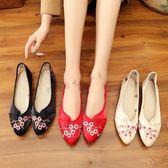推薦布鞋女春新款古風鞋子女漢服鞋子坡跟繡花鞋配漢服青年(818來一發)