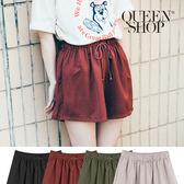 Queen Shop【04130035】素色綁帶造型鬆緊腰短褲 四色售*預購*