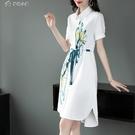 休閒洋裝21春季新款時尚氣質優雅襯衫裙印花翻領舒適女式寬鬆連身裙女潮 快速出貨