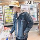牛仔外套‧仿舊水洗可拆連帽寬版落肩牛仔外套‧一色【NZ2139057】-TAIJI-