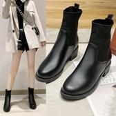 毛線口馬丁靴女黑色春秋單靴新款針織彈力襪子瘦瘦靴平底短靴 伊衫風尚