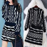 針織洋裝小香風兩件式毛衣短裙套裝麻花針織上衣氣質A字裙LS8081803