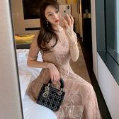 VK旗艦店 韓系氣質收腰拼接蕾絲透視套裝短袖裙裝