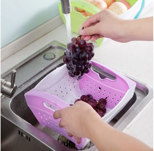 廚房必備 摺疊蔬果籃 秒收洗菜瀝水籃 水果籃 廚房用品(顏色隨機出貨) (P083)
