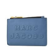 美國正品 MARC JACOBS 浮雕LOGO牛皮證件套/拉鍊零錢包-雲雀藍【現貨】