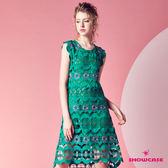 【SHOWCASE】春漾綠意紅花鏤空蕾絲連身洋裝(綠)
