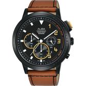 ALBA 雅柏 廣告款 自我表態計時男錶-黑x咖啡錶帶/44mm VD53-X340J(AT3F39X1)