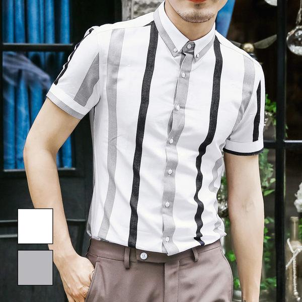男 撞色/直條紋/窄版/短袖襯衫 L AME CHIC 黑白灰拼色布紋直線條窄版修身短袖襯衫【ETSS051809】