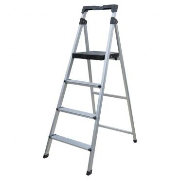 特力屋 四階鋁製輕便寬踏板梯 附工具盤