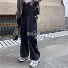 排扣牛仔褲女夏季新款韓版高腰直筒褲子嘻哈寬鬆闊腿老爹褲 快速出貨