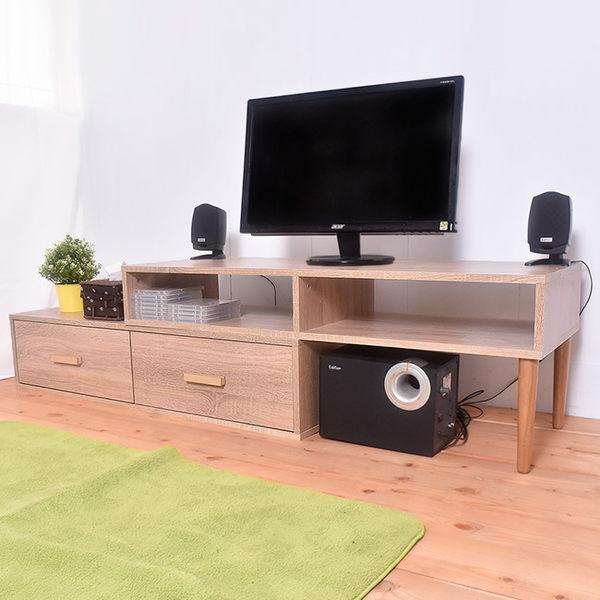 凱堡 雙層活動電視櫃組 簡易組裝 木紋風【P16041】
