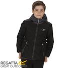 【REGATTA 英國 兒童 佛坎尼超反光防水透氣外套《黑/灰》】RKW196/彈性/內刷毛/夾克