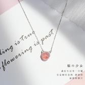 項鏈  銀貓咪項鏈女天然草莓晶招桃花小清新可愛短款韓版手工鎖骨鏈  嬌糖小屋
