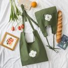 唐糖包袋清新綠色帆布袋單肩斜挎大容量小花文藝女包包學院風 Moon衣櫥