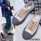 PAPORA新品餅乾軟底休閒帆布鞋平底鞋KK6125黑色/白色