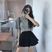 撲啦啦簡約韓風寬鬆休閒學生短袖T恤女高腰百褶短裙A字裙半身裙夏 快速出貨