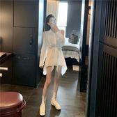 韓風小心機露肩長袖連身裙女收腰顯瘦襯衫裙子新款秋裝 亞斯藍