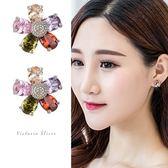 925純銀針  韓國優雅氣質 彩色花朵 耳環-維多利亞1812121