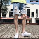 牛仔褲短褲 褲腳抽鬚 破壞刷色牛仔短褲【XM2511】短褲 牛仔褲 膝破 工作褲