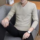 打底衫 男士長袖加絨t恤V領打底衫韓版保暖衛生衣服連帽T恤秋冬男裝加厚針織衫 歐歐流行館