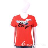 KENZO Crane 草寫字母紅色鶴鳥圖騰棉質T恤 1810117-E4