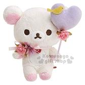 〔小禮堂〕懶懶熊 牛奶熊 絨毛玩偶娃娃《S.米紫.拿汽球》擺飾.玩具 4974413-71694