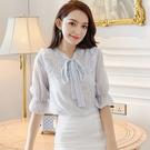 簡約雪紡衫條紋蝴蝶結襯衫上衣(S-XL可選)/設計家6037