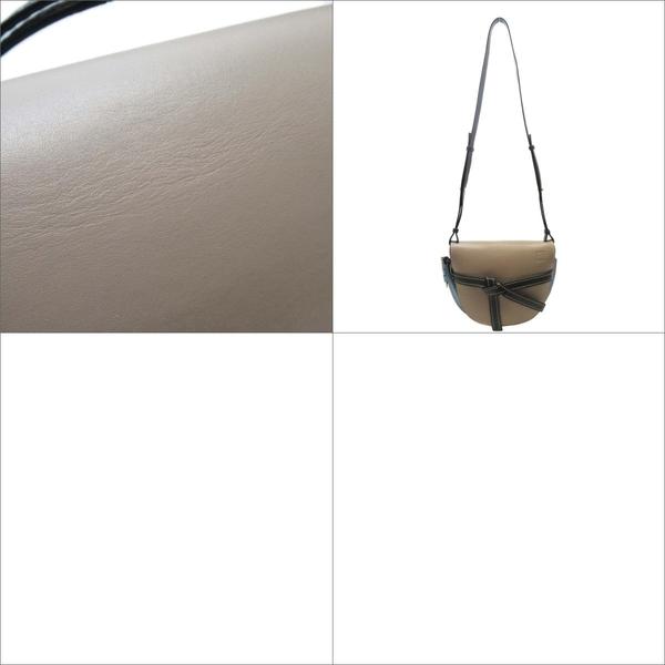 LOEWE 羅威 駝色淡藍色牛皮黑色背帶肩背包 馬鞍包 Gate Bag【二手品牌 BRAND OFF】