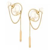 【台中米蘭站】全新品 DIOR Tribales 系列圓珠簍空垂墜造型穿式耳環 (金)