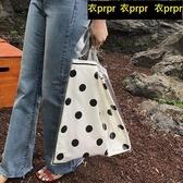 【YPRA】帆布包包 波點透明帆布包女單肩包