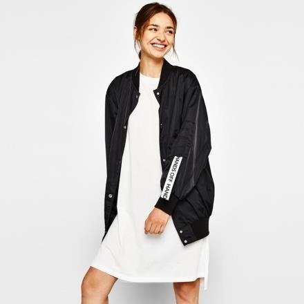 【南紡購物中心】《D Fina 時尚女裝》撞色字母刺繡寬鬆版時尚飛行外套