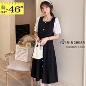 連身裙--氣質知性優雅排釦拼接雪紡公主袖方型領口短袖A字洋裝(黑L-3L)-D583眼圈熊中大尺碼◎