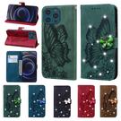 蘋果 IPhone 13 Pro Max 13Pro 13Mini 鑲鑽復古蝴蝶 手機皮套 掀蓋式 插卡 支架 保護套