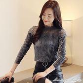 蕾絲上衣 8337#金絲絨T恤女秋韓版百搭蕾絲拼接體恤長袖修身打底衫 瑪麗蓮安