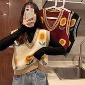 毛衣馬夾外穿秋季韓版V領無袖外搭疊穿針織馬甲女背心 樂淘淘