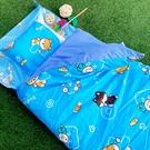 睡袋 / 兒童標準【逗柴貓-三色可選】標準幼教款 高密度磨毛布 戀家小舖台灣製ABF088