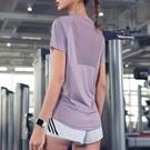 運動上衣 健身服上衣女寬鬆速乾t恤運動短袖網紗罩衫性感瑜伽服夏薄款-Ballet朵朵