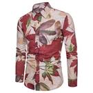 FINDSENSE H1秋季 新款 日本  復古 楓葉圖案 亞麻 大碼 顯瘦襯衫