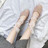 春季夏綁帶涼鞋芭蕾舞鞋女鞋淺口平底鞋方頭鞋子粗跟豆豆單鞋 奇思妙想屋