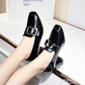 小皮鞋粗跟單鞋女秋季復古方頭中跟高跟鞋子韓版百搭 東京衣秀