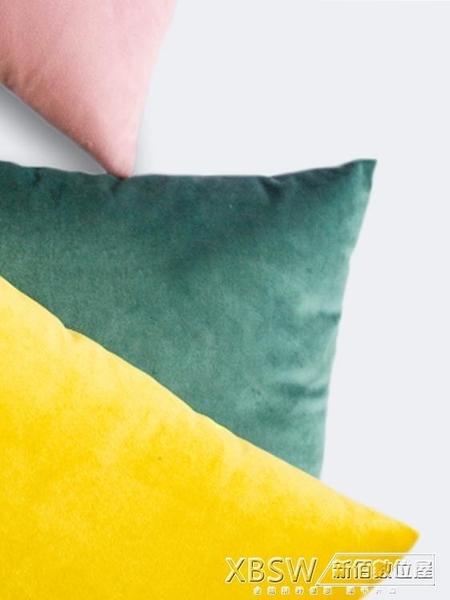北歐抱枕正方形靠墊沙發靠枕客廳長方形靠背墊天鵝絨抱枕套不含芯CY『新佰數位屋』