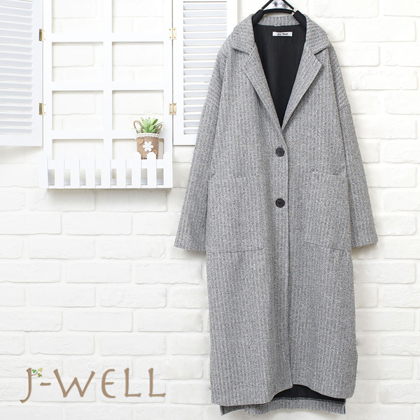 J-WELL 西裝領貼口袋羅紋長版外套(2色) 8J1292