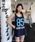annerun運動背心女外穿長款無袖健身服跑步速干T恤寬鬆瑜伽上衣夏