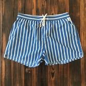 沙灘褲男 海邊 度假 白色條紋短褲溫泉游泳褲三分褲 帶內襯