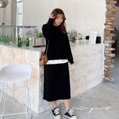 中大尺碼  兩件套黑色圓領上衣+後開衩長裙- 適XL~4L《 79158 》CC-GIRL