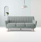 【歐雅系統家具】斯蒂納拉扣設計布沙發-三人座-湖水藍 / 現成沙發 / 三人沙發 / 12層內材 / 小家庭