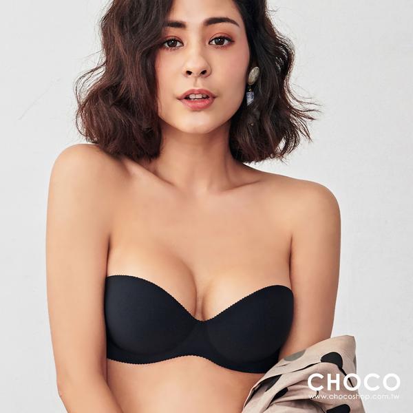 Choco Shop-經典爆爆‧平口爆乳深V無痕厚墊內衣(黑色) 70B~85D