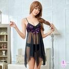 緣來是你*黑色柔紗紫花刺繡V領二件式性感睡衣